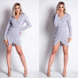 Siya Grey Crinkle Front Wrap Dress